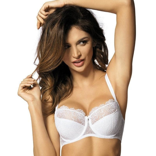 Semi-Sheer Lace Half Padded Bra Gorteks Pamela White