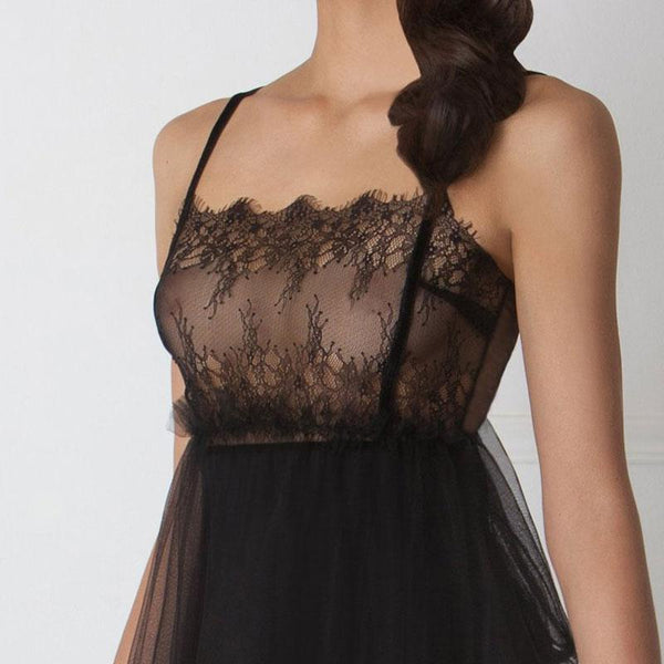 Sensual Sheer Lace Tulle Mini Magnific Slip Amoralle