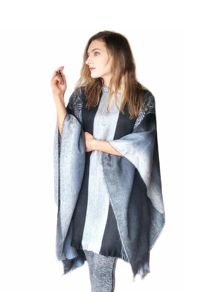Soft Blues Alpaca Poncho