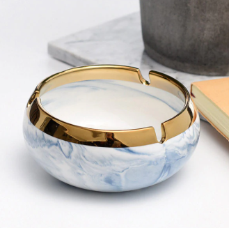 Marble + Gold Edge Ceramic Ashtray
