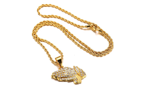Classic Diamond Created Iced Out Praying Hands  Necklace