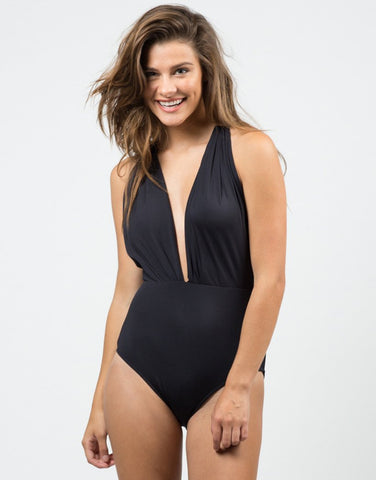 Plunging Halter Swimsuit