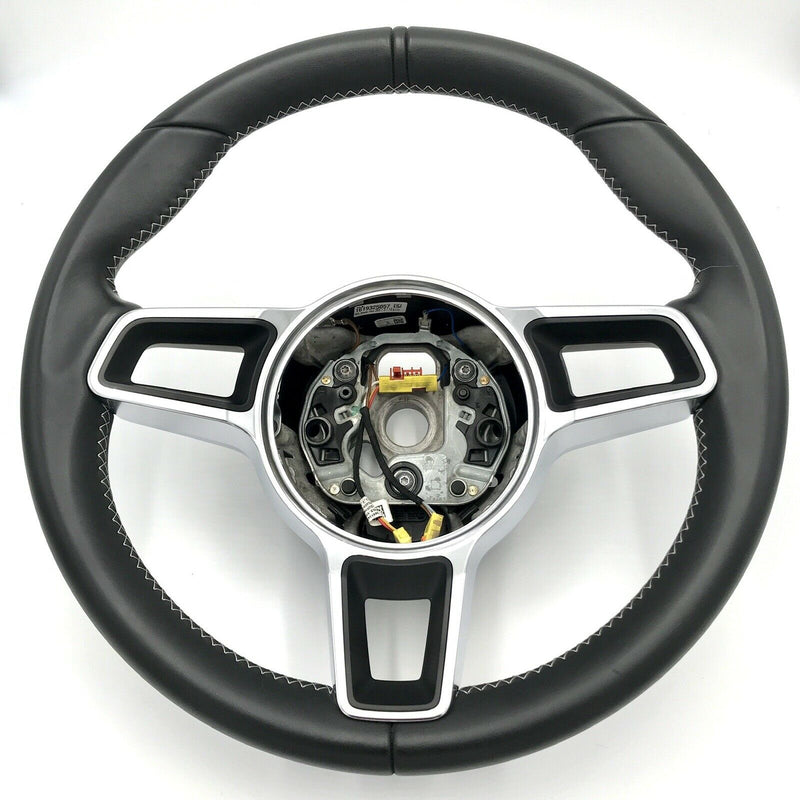 Genuine Porsche 981 GT4 Steering Wheel, Black Leather, Platinum Stitching