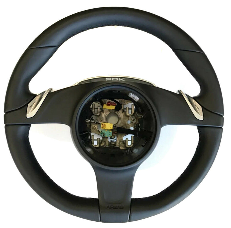 Genuine Porsche 981/991 PDK Sport Chrono+ Steering Wheel, Black Leather