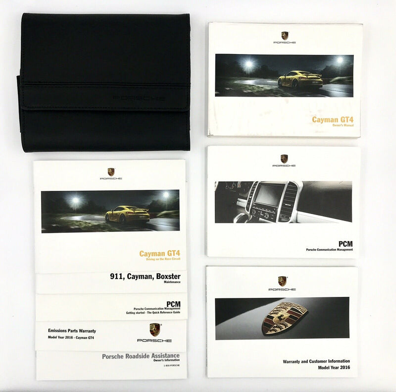 Genuine 981 Porsche Cayman GT4 Owner's Manual Set with Wallet