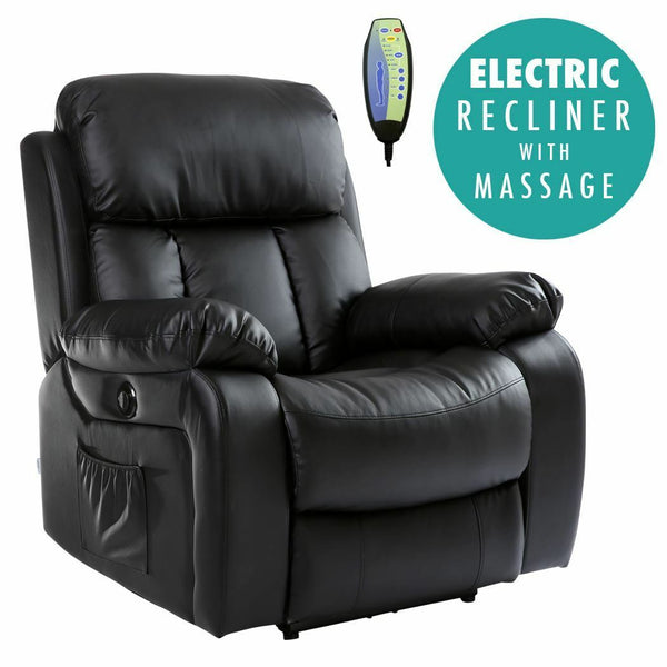 CHESTER ELECTRIC HEATED LEATHER MASSAGE RECLINER CHAIR SOFA GAMING HOME ARMCHAIR