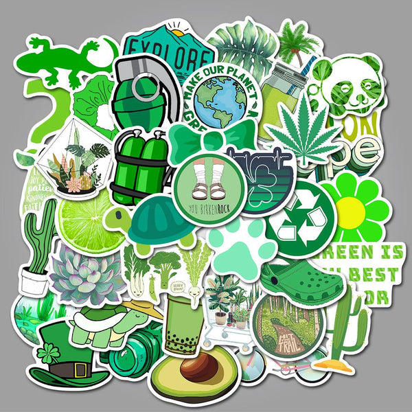 Green Cartoon ( 50 Pcs )-Vinyl Waterproof Stickers - StickerDoll