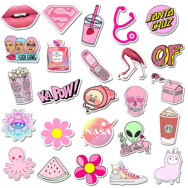 Pink Cartoon ( 50 Pcs )-Vinyl Waterproof Stickers - StickerDoll