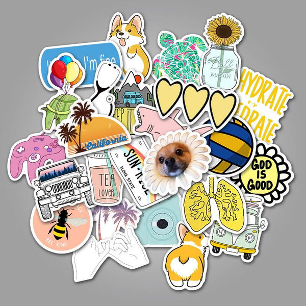 Simple Cartoon ( 50 Pcs )-Vinyl Waterproof Stickers - StickerDoll