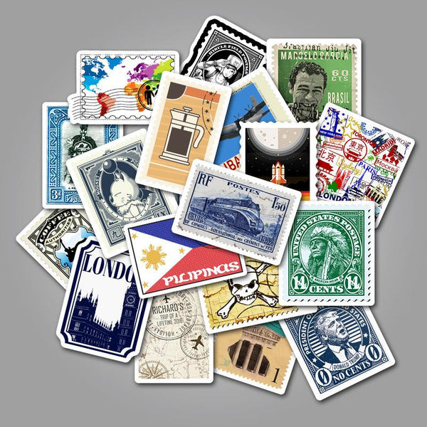 Stamp ( 50 Pcs )-Vinyl Waterproof Stickers - StickerDoll