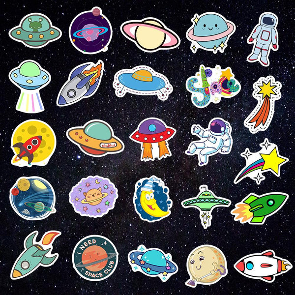 UFO Cartoon ( 50 Pcs )-Vinyl Waterproof Stickers - StickerDoll