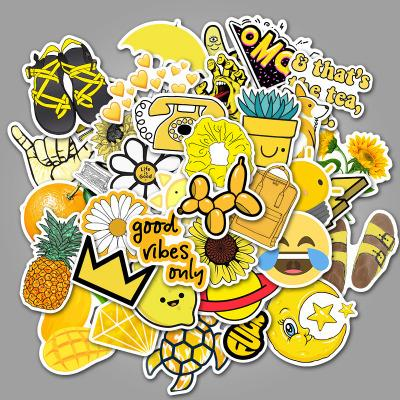 Yellow Cartoon ( 50 Pcs )-Vinyl Waterproof Stickers - StickerDoll