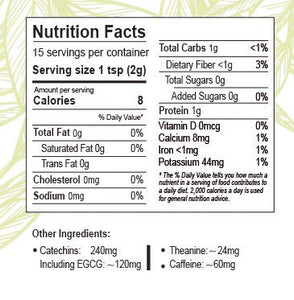 Matcha green tea Qatar - Nutrition facts