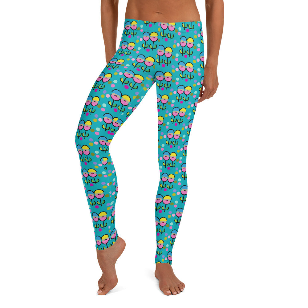 Space Flower Leggings (Teal)