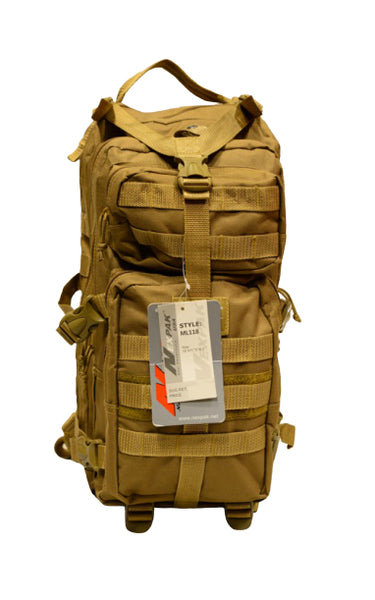tan medium day backpack, front