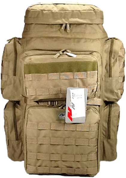 tan tactical backpack, front view, 30 inches