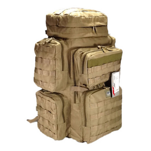 tan tactical backpack, angled view, 30 inches