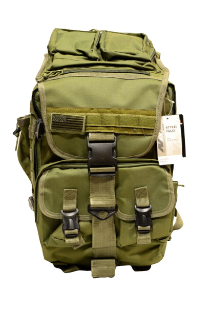 OD green hood-top hiking backpack, front