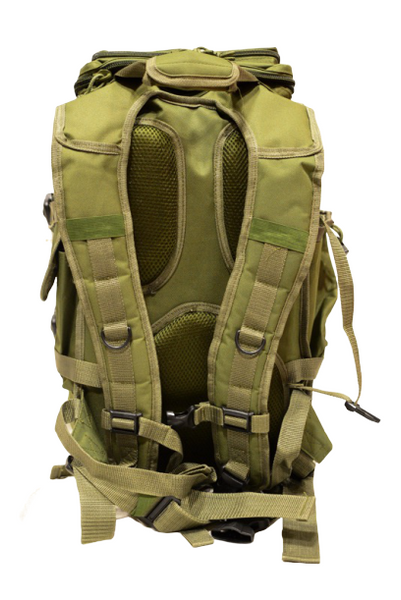 OD green hood-top hiking backpack, back