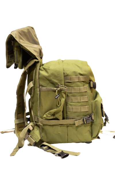 OD green hood-top hiking backpack, side with top up