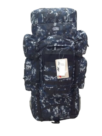 navy camo hiking backpack front 34 inches
