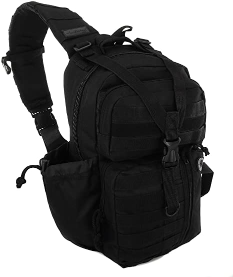 black sling backpack front 18 inches