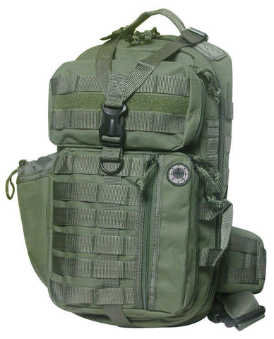 OD green sling backpack 18 inches