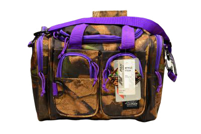 purple and camo utility bag, 15 inches