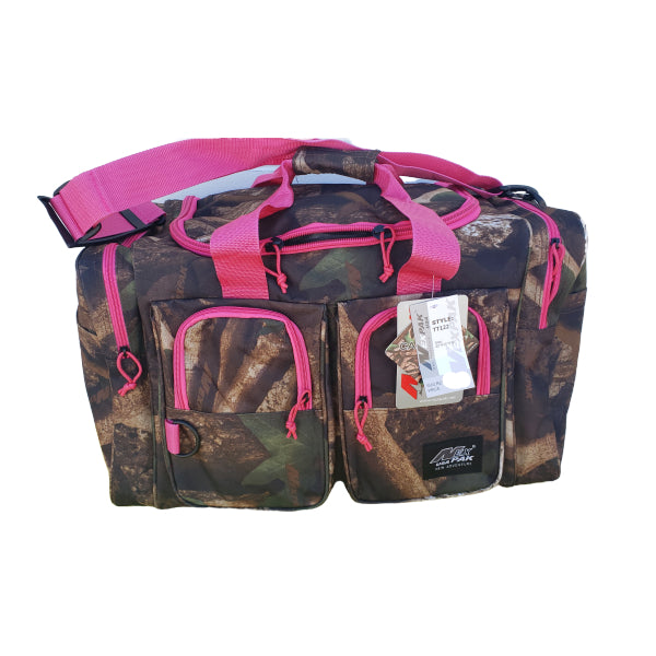 pink and camo gear bag, 22 inches