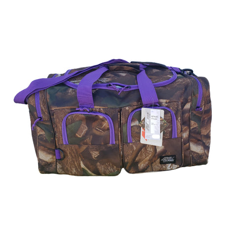 purple and camo gear bag, 26 inches