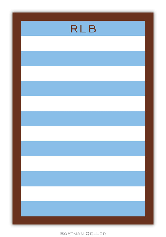 Rugby Blue & Brown Border Notepad