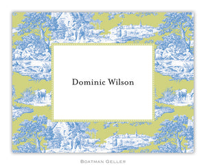 Toile Blue & Green Foldover Notecard