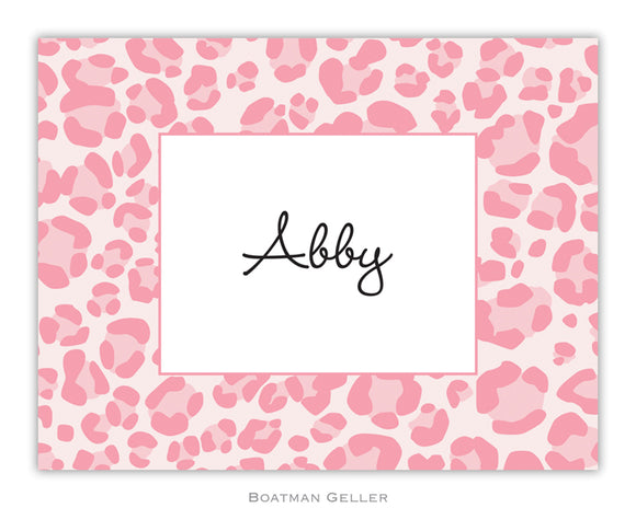 Leopard Pink  Foldover Notecard
