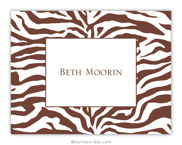 Zebra Brown  Foldover Notecard