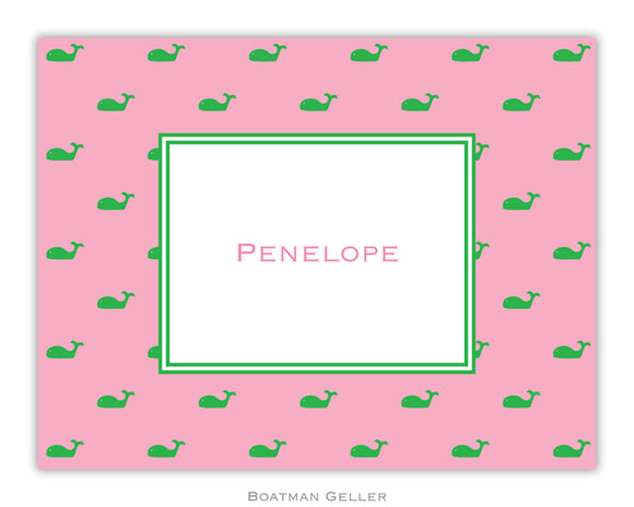 Whale Pink  Foldover Notecard