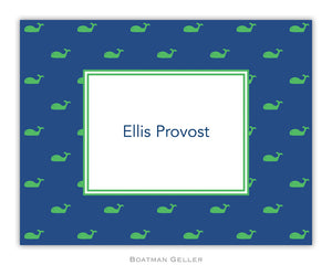Whale Blue  Foldover Notecard