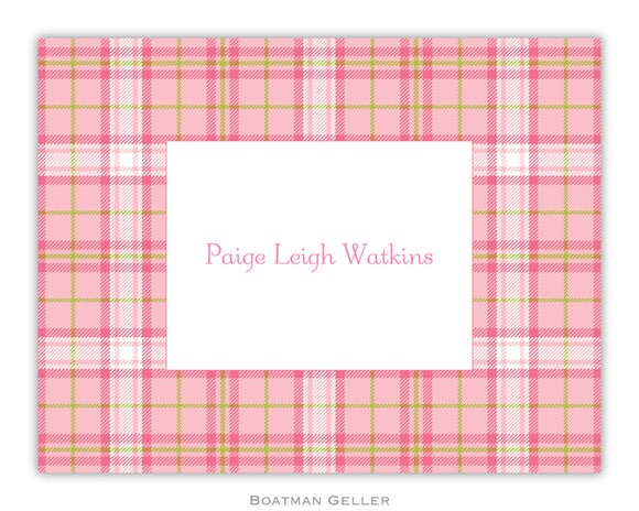 Plaid Pink Foldover Notecard
