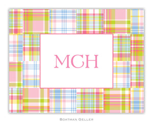 Madras Patch Pink   Foldover Notecard