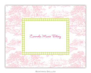 Toile Pink with Lime Check Foldover Notecard