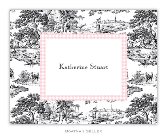 Toile Black with Pink Check Foldover Notecard