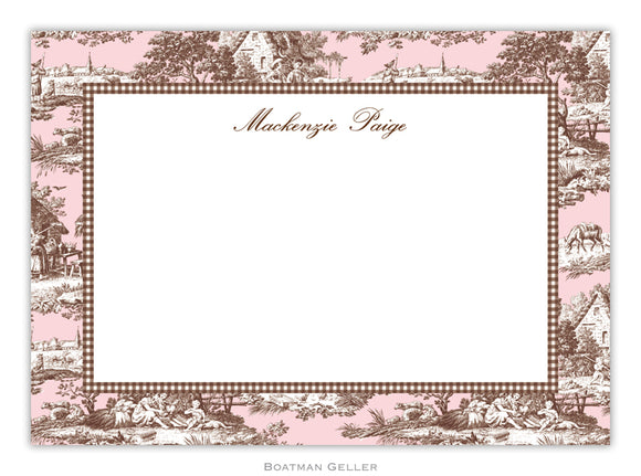Toile Pink & Brown  Flat Card
