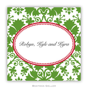 Damask Green  Personalized Stickers