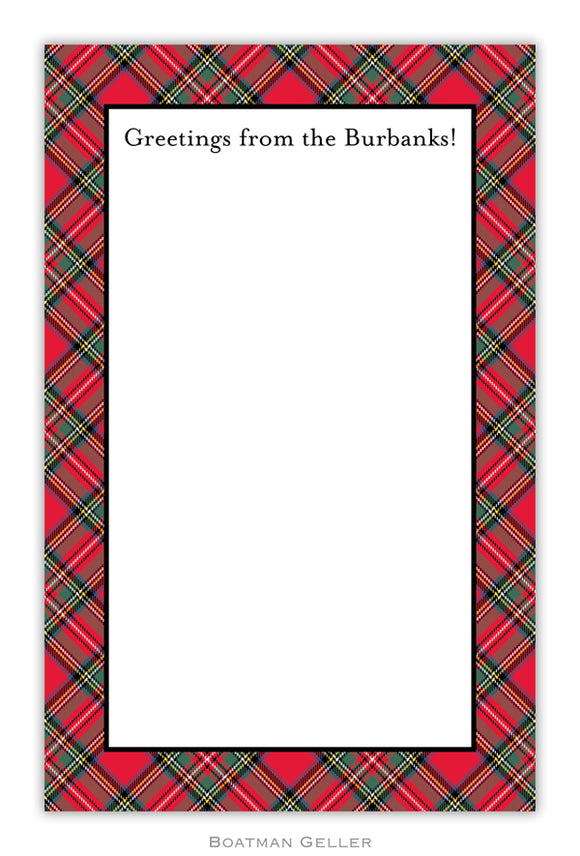 Plaid Red Personalized Holiday Notepad