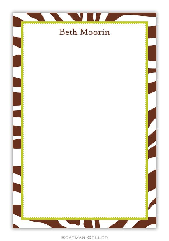 Zebra Brown Notepad