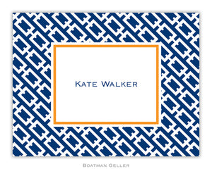 Chain Link Navy Foldover Notecard
