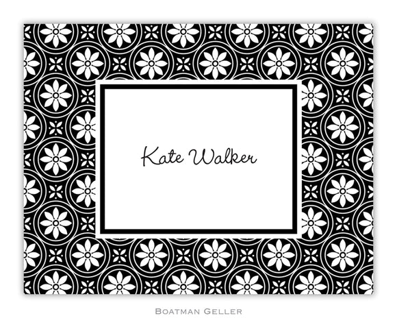 Medallion Black Foldover Notecard