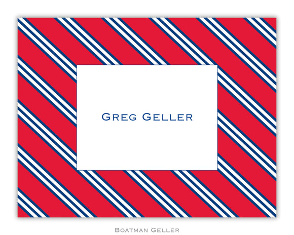 Repp Tie Red & Navy Foldover Notecard