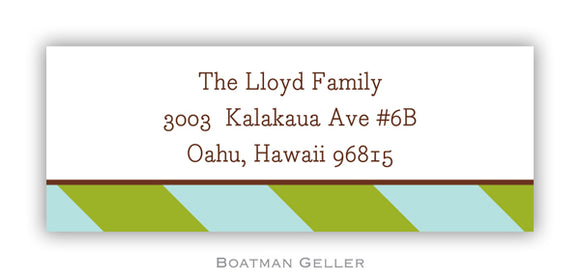 Aqua & Olive Stripes  Personalized Address Label