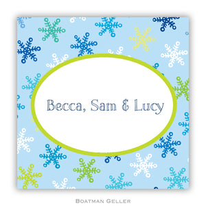 Snowflake Light Blue Personalized Stickers