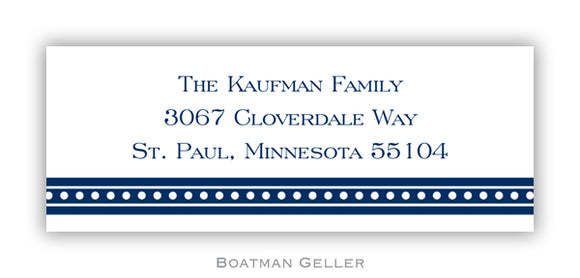 Beaded Navy Personalized Address Label